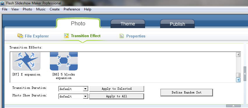 Customize Transitions on Flash Slideshow Maker for Windows OS