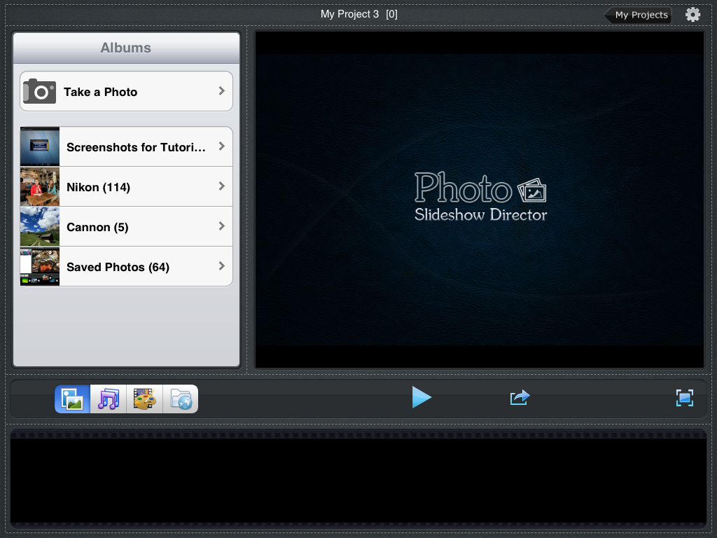 Photo Slideshow Director HD, start a new slideshow""