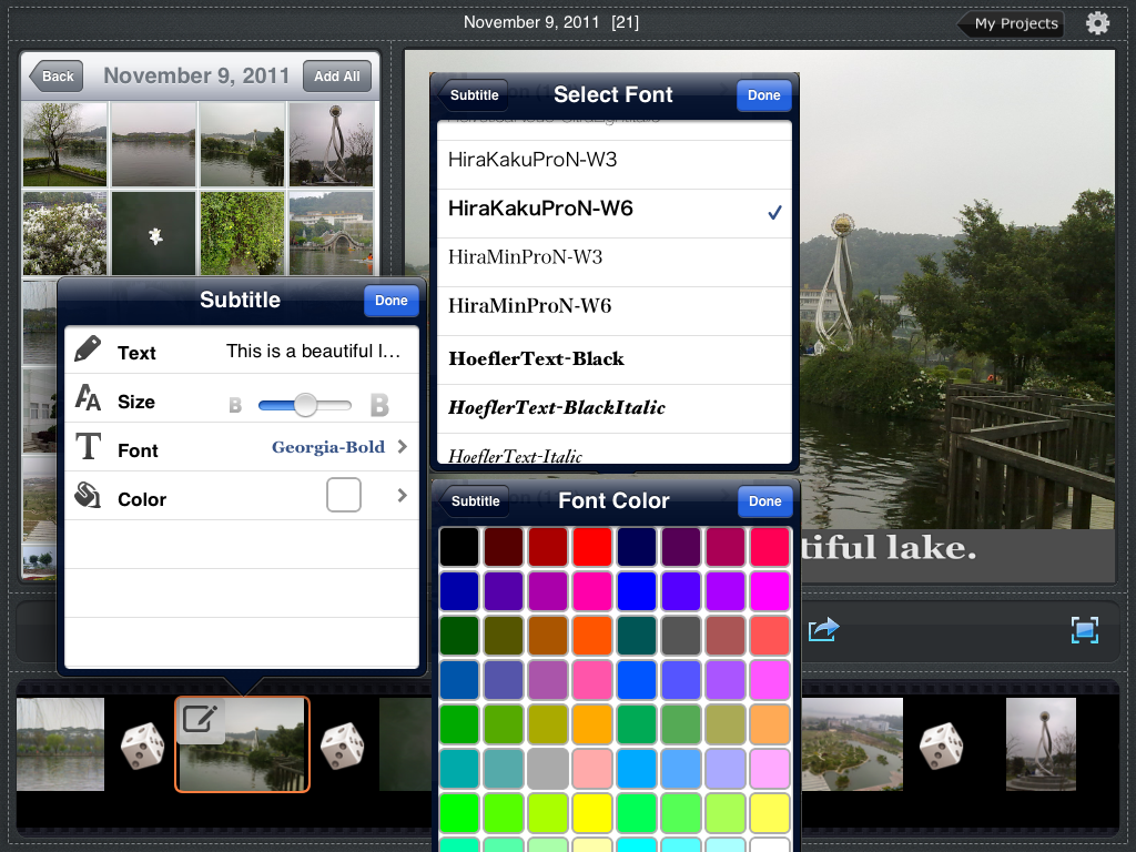 Photo Slideshow Director HD, editing subtitle, font, font color