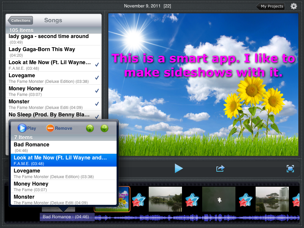 photo slideshow director hd, add music to slideshow