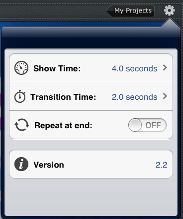 photo slideshow director hd, show time transition time